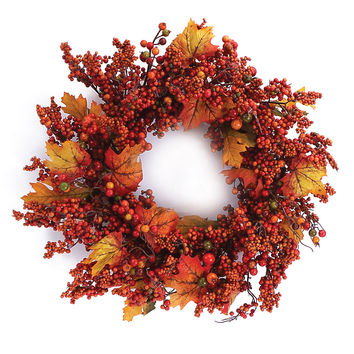 Falling Leaves Collection Fall Berry Wreath