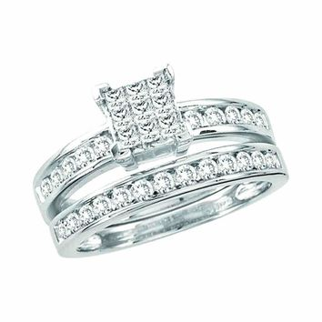 14kt White Gold Women's Princess Diamond Cluster Bridal Wedding Engagement Ring Band Set 1.00 Cttw - FREE Shipping (US/CAN)