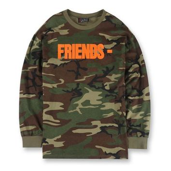 spbest Vlone Friends Letter V Print Camouflage T-shirts Long Sleeve