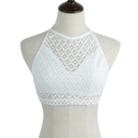 White Lace Halter Bralet Top