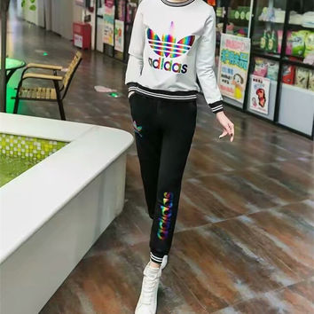 """""""Adidas"""" Fashion Casual Colorful Clover Letter Print Long Sleeve Set Two-Piece Sportswear"""