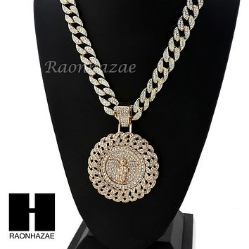 "Men's Iced Out Large Medallion Round Angel Pendant w/ 30""Cuban Link Chain NN035G"