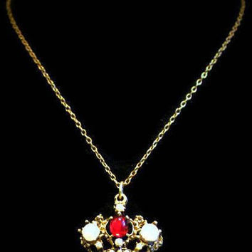 1960's Crown Pendant Necklace, In Gold Tone With Red Cabochon And Pearls