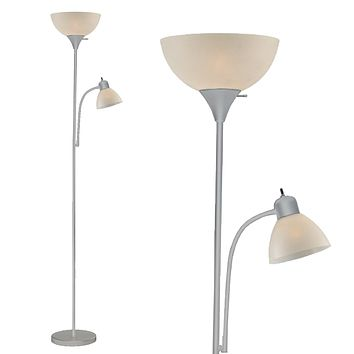 Floor Lamp with Side Reading Light (Grey) Model 6280-98