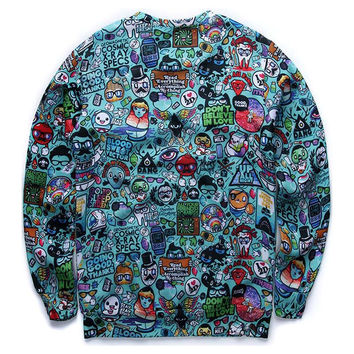 Cartoon animation sweatshirts for men/boy 3d sweatshirts funny creative 3d print casual hoodies