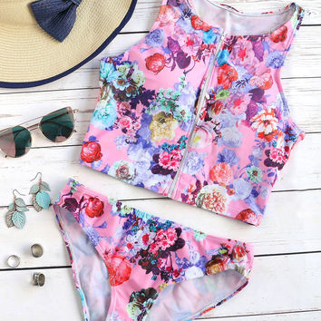 Multicolor Floral Print Zipper Up Tankini Set