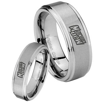 His and Hers Step Edge Mountain Dew Tungsten Silver Wedding Rings Set