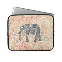Tribal Paisley Elephant Colorful Henna Pattern Laptop Sleeves