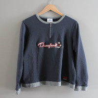 Micky Mouse Sweatshirt Navy Blue Disney Pullover Crewneck Fleece Lining Sweatshirt Hipster 90s Vintage Size S - M