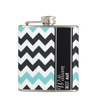 Aqua Black Chevron BEST MAN Flask