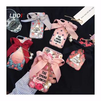 LUDI Retro Bow Ribbon Pearl Tassels Flowers Case For iPhone X 8 7 7plus Cute Pink Girl Hard Cover For iPhone 6 6plus 6s 6splus