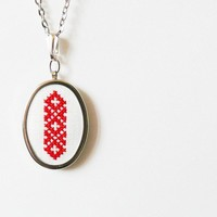 Hand embroidered necklace Ukrainian ornament in red by skrynka