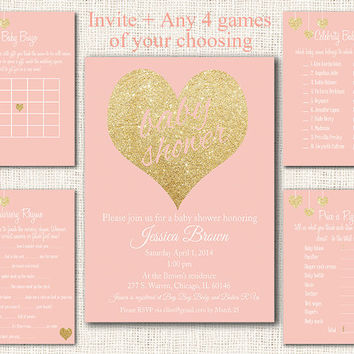 Pink Gold Baby Shower Invitation 5 piece party pack, baby shower games pink gold party kit baby shower party set instant download digital