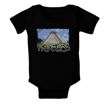 Mexico - Mayan Temple Cut-out Baby Bodysuit Dark