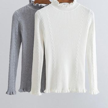 Solid Women Sweater Pullover Ruffles Turtleneck Waves Slim Autumn Winter Long Sleeve Jumper Casual Sweater Tricot Knitted