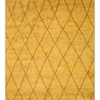 EORC Hand-knotted Wool Gold Transitional Trellis Moroccan Rug