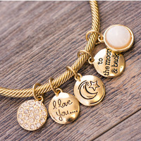 I Love You Charm Bracelet - Gold