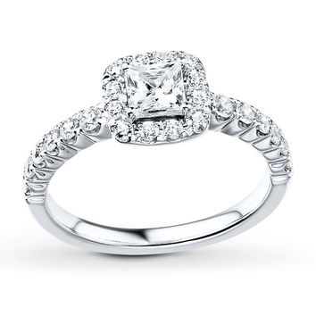 Diamond Engagement Ring 7/8 ct tw Princess/Round 14K White Gold