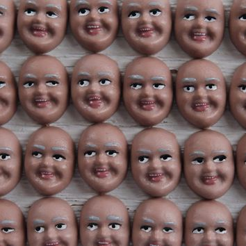 Singing Elf Faces, Brown - Miniature Plastic Face Cabochons for Crafts, 8 Pcs.