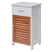 White Bathroom Storage Floor Cabinet with Brown Shutter Door