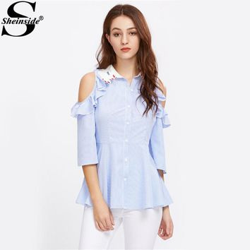 Sheinside Hand Shape Funny Shirt Open Shoulder Striped Blouse 2017 Fit And Flare Women Summer Tops Blue Lapel Button Up Blouse