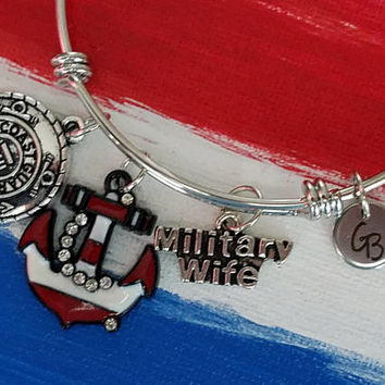 Coast Guard wife bracelet, Slide Bracelet, Slide Bangle, Charm Bangle,  PCG, Military, Trendy Style Now, Gift For Her, Coast guard