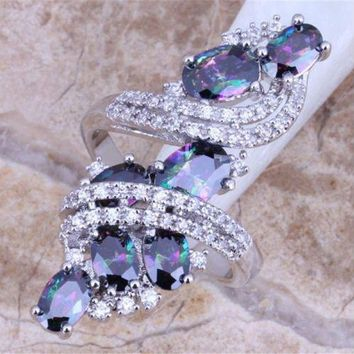 New Brand Jewelry 925 Sterling Silver Mystic Rainbow Topaz Gemstone Wedding Ring