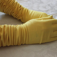 Vintage Gloves, Bright Yellow Gloves, Gathered Wrists, Mid-Elbow Length Ladies Gloves