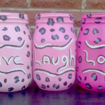 Live Laugh Love Jars - glass jars - cheetah print - animal print - pink jar - set of jars - pink decor - cheetah print jar - home decoration