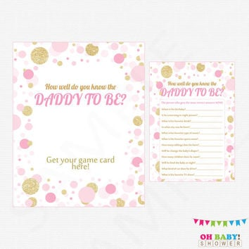 Pink and Gold Baby Shower Games, How well do you know the DADDY to be, Printable Baby Shower, Confetti, Baby Girl, Download, CB0003-PG