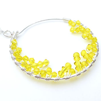 Wire Wrapped Pendant Necklace with Yellow Swarovski Crystals Circle SIlver Pendant Sunny Yellow Summer Necklace