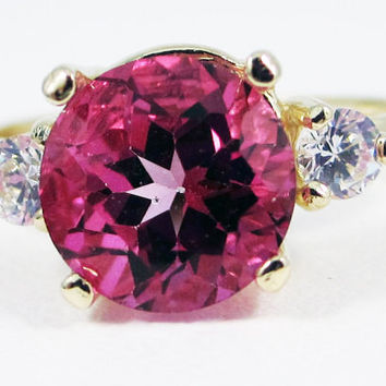 14k Yellow Gold Pink Topaz and White CZ Ring
