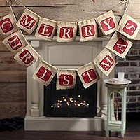 """Merry Christmas"" Burlap Banner Decoration"