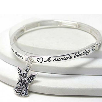 Inspirational 'Nurses Blessing' Message Engraved Stretch Bracelet