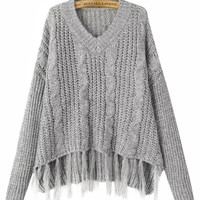 V-Neck Long Sleeve Tassel Hem Ribbed Knitted Sweater