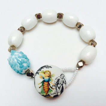 Fabric button bracelet, bee, blue and white, summer, toile, OOAK