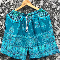 Boho Style Hippie Shorts Paisley Indie Aztec Vegan Festival Indian Hipster Beach Clothing Summer Fashion Gift for Men Women Burning man