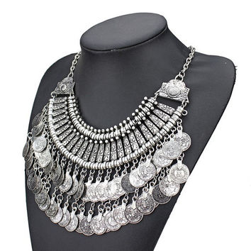 Bohemian Boho gypsy turkish celebrity double coin necklace silver tone