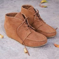 Women's Ankle Moccasin Stitch Design Boots With Hidden Wedge New Booties