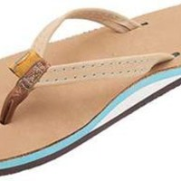 The Tropics Leather Sandal in Sierra Brown w/ Ocean Blue Midsole by Rainbow Sandals
