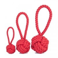 Harry Barker Medium Red Cotton Rope Tug & Toss Toy, Dog Chew Toy, Dog Tug Toy | Toad Hollow