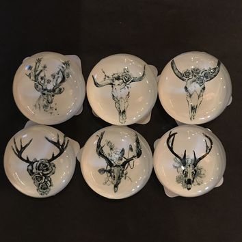 Antler and Floral Glass Magnet