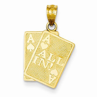 14k Yellow Gold Ace of Hearts Spades Card Charm
