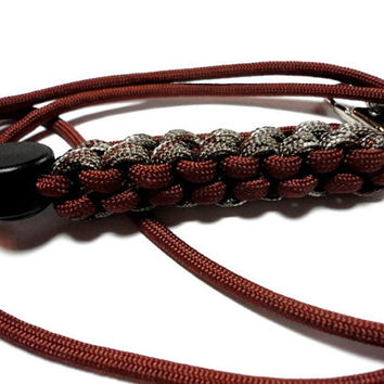Mens Paracord Lanyard Id Badge Holder in Brown and Desert Camo 550 Cord 7 Strand Military Grade Made in USA Breakaway Cord Adjuster