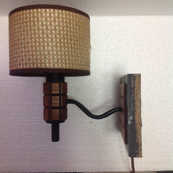 Vintage Danish Modern Hallway Bedroom Wall Sconce with Woven Shade