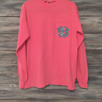 Comfort Colors Long or Short Sleeve Tee Shirt with Lilly Pulitzer monogram *free shipping *
