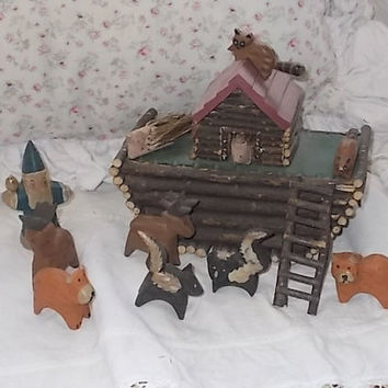 Vintage log Noahs Ark/ Not Included In Coupon Sale.