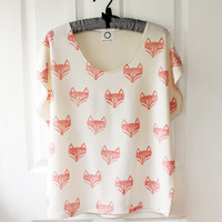 Fox Face Batwing Top   bone jersey by RoEnArt on Etsy