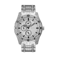 Bulova Men's Crystal Stainless Steel Watch - 96C106 (Black/Silver)