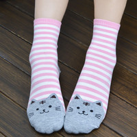 Stylish 3D Animals Striped Cartoon Socks Women Cat Footprints Cotton Socks Floor length sock for lady